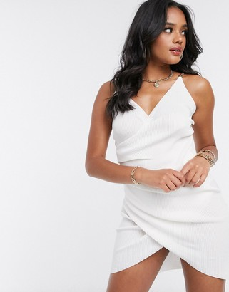 I SAW IT FIRST chain detail wrap dress in white