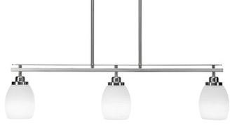 Winston Porter Merha 3 - Light Kitchen Island Linear Pendant Finish: Brushed Nickel, Shade Color/Pattern: White