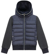 Moncler Hooded Fleece Zip-Front Jacket, Light Gray, Size 8-14