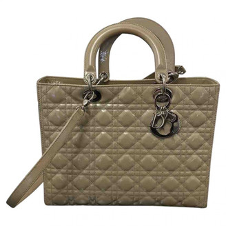 Christian Dior Lady Beige Patent leather Handbags
