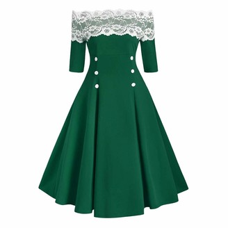 YBWZH Women Dresses Women Lace Pachwork Off Shoulder Button Vintage Party Half Dress Plus Size Dress Party Elegant Dress Vintage Dress Green