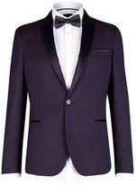 Burton Burton Purple Skinny Fit Jacquard Tuxedo Jacket