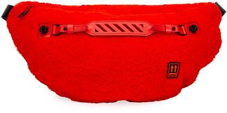 Off-White Men's Medium Lamb-Shearling Belt Bag/Fanny Pack, Red