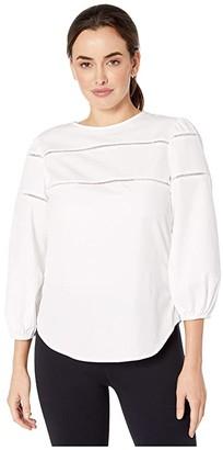 Lauren Ralph Lauren Ladder-Trim Cotton Shirt (White) Women's Clothing