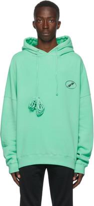 we11done Green Iridescent Logo Hoodie