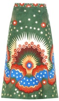 Valentino Embellished Printed Suede Skirt