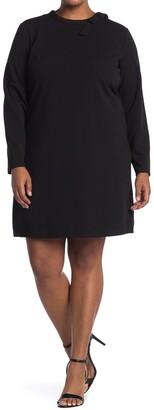 Nina Leonard Long Sleeve Solid Tie Dress