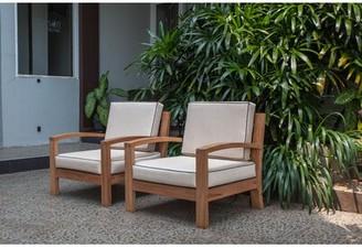 Bay Isle Home Severine Deep Seating Teak Patio Chair with Cushions Bay Isle Home
