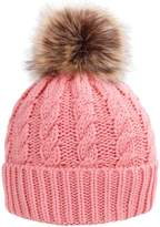 Simplicity Men / Women's Winter Hand Knit Faux Fur Pompoms Beanie Hat Pink