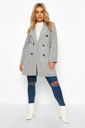 boohoo Plus Double Breasted Coat