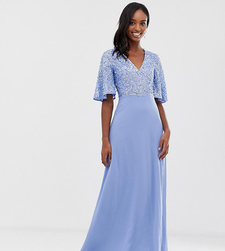 Maya Tall sequin top maxi dress with flutter sleeve detail in bluebell