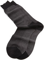 Pantherella Mid-Calf Birdseye Ankle Socks, Black