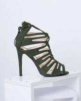 Missy Empire Kristen Khaki Suede Lace Up Heels