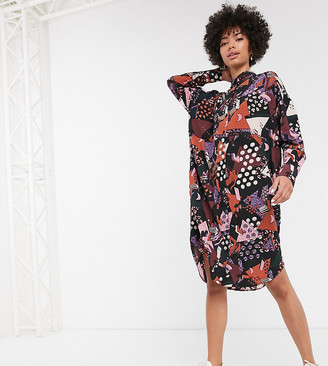 Monki abstract print midi shirt dress in multi