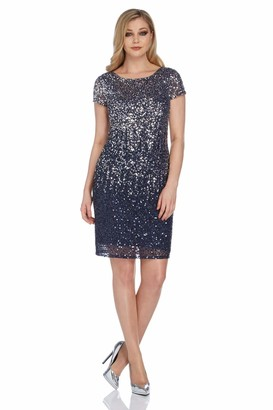 Roman Originals Women Sequin Dress - Ladies Shift Bodycon Glitter Embellished Sparkly Christmas Xmas New Years Eve NYE - Midnight Blue & Grey - Size 18