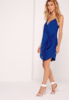 Missguided Strappy Wrap Tie Waist Shift Dress Cobalt Blue