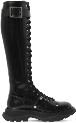 Alexander McQueen 40mm Treaded Leather Tall Boots
