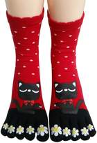 Urban CoCo Women Funky Wave Point Flower Lucky Cat Toes Socks