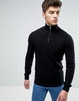 Solid Textured Sweater With Half Zip In Black