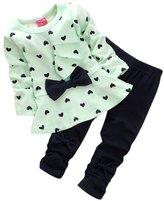 Balakie Baby Tops Pants, Kids Heart-shaped Bowknot Cute 2PCS Set (S, )