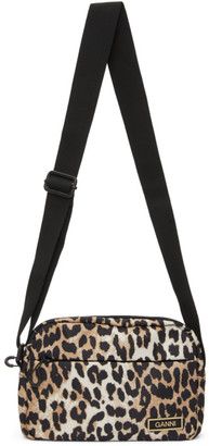 Ganni Brown Leopard Recycled Tech Festival Bag