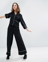Monki Piped Pajama Dressing Pants