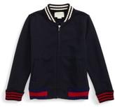 Gucci Boy's Rib Knit Trim Front Zip Sweatshirt