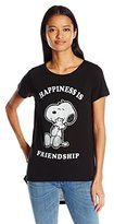 Peanuts Junior's Snoopy Happiness IS Friendship High Low Drapey Graphic Tee