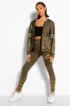 boohoo Foiled Detail Zip Top & Jogger Set