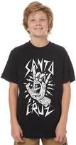 Santa Cruz Kids Boys Rock Hand Tee Black