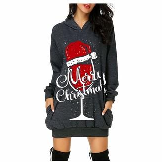 89amz Women's Merry Christmas Long Sweatshirt Pullovers Hoodies Wine Glass Christmas Hat Xmas Hoodie Sweatshirt Dress