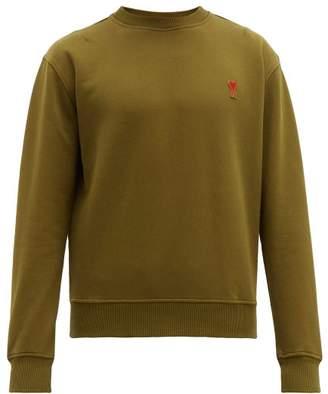 Ami Logo Embroidered Cotton Sweatshirt - Mens - Green