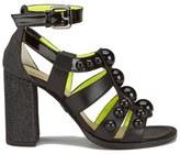 Markus Lupfer Women's Glitter Black Balls Block Heeled Sandals Black