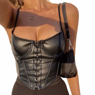 FeMereina Womens PU Leather Crop Top Lace UpY2K Spaghetti Straps Bustier Corset Overbust Waist Tank Tops Backless Camis Shirt Streetwear (Brown S)
