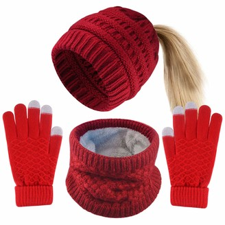 FEPITO 4 Pieces Womens Winter Beanie Hats with Ponytail Hole Knit Scarf Gloves Red