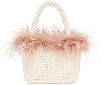Loeffler Randall Mina Mini Beaded Tote Bag with Feather Trim