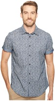 Calvin Klein Jeans Herringbone Roll-Tab Button Down Men's Short Sleeve Button Up