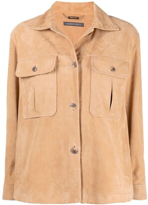 Alberta Ferretti Chest-Pocket Leather Shirt