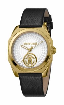 Roberto Cavalli Women's RC-72 Gold Tone Swiss Quartz Watch with Leather Calfskin Strap Black 18 (Model: RV1L073L0026)