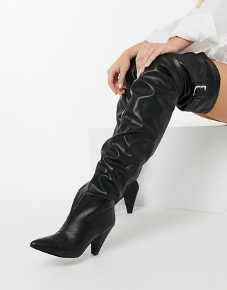ASOS DESIGN Kayla thigh-high slouch boots in black