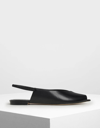 Charles & Keith Pointed Peep Toe Slingback Flats
