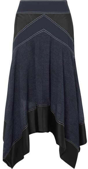 Diane von Furstenberg Asymmetric Paneled Crepe, Satin And Voile Skirt - Navy