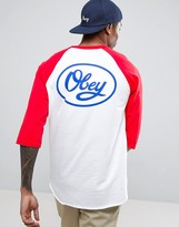 Obey 3/4 Sleeve Raglan T-shirt With Large Logo