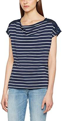 Tom Tailor Women's Striped lace Mix Shirt T (Real Navy Blue 6593), Large