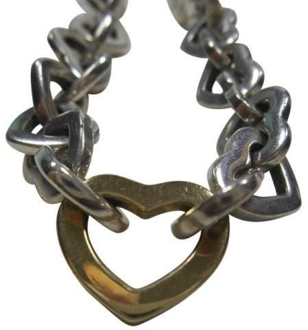 Tiffany & Co. 925 Sterling Silver & 18K Yellow Gold Heart Link Necklace