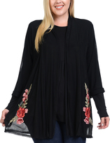 Bellino Black Embroidery-Accent Open Cardigan - Plus