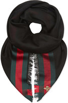 Gucci Striped Silk And Wool-blend Scarf