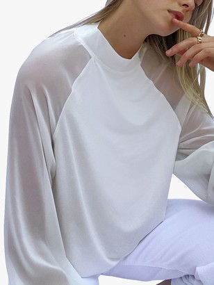 French Connection Noemi Semi Sheer Sleeve Mock Neck Top, Winter White