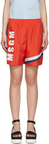 MSGM Red Colorblock Logo Shorts