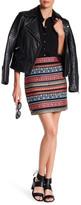 Nicole Miller Beaded Jacquard Stripe Silk Skirt